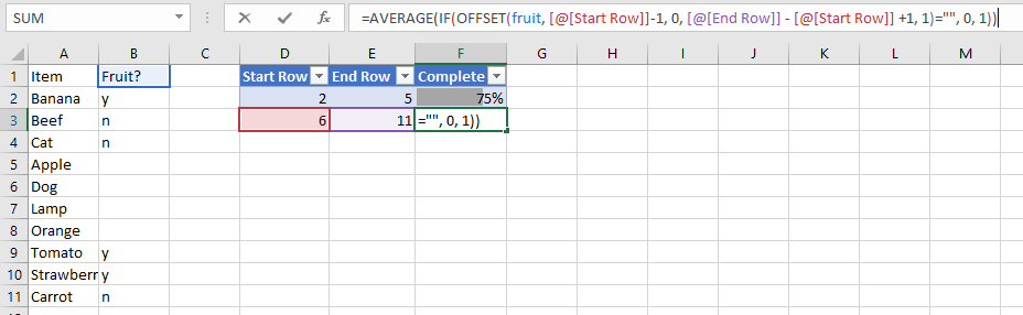 Excel Completion Count