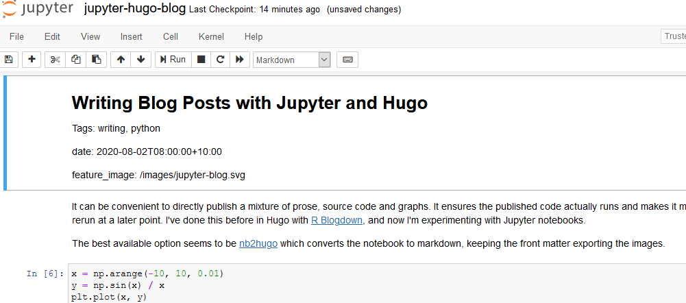 Writing Blog Posts with Jupyter and Hugo